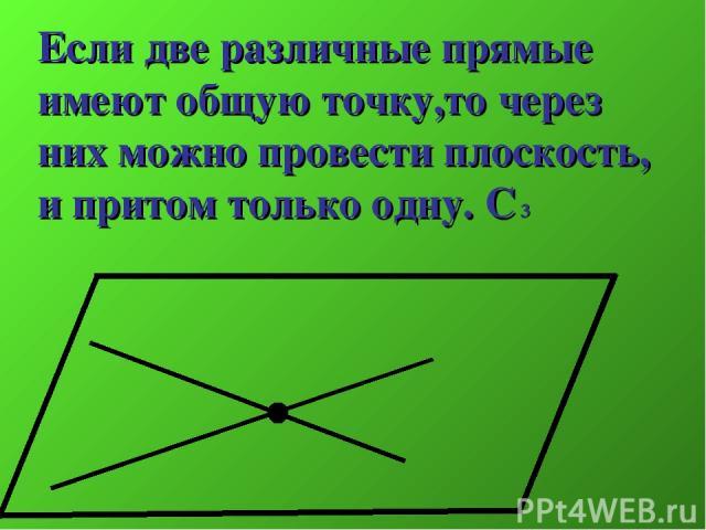 Если две различные прямые имеют общую точку,то через них можно провести плоскость, и притом только одну. С 3