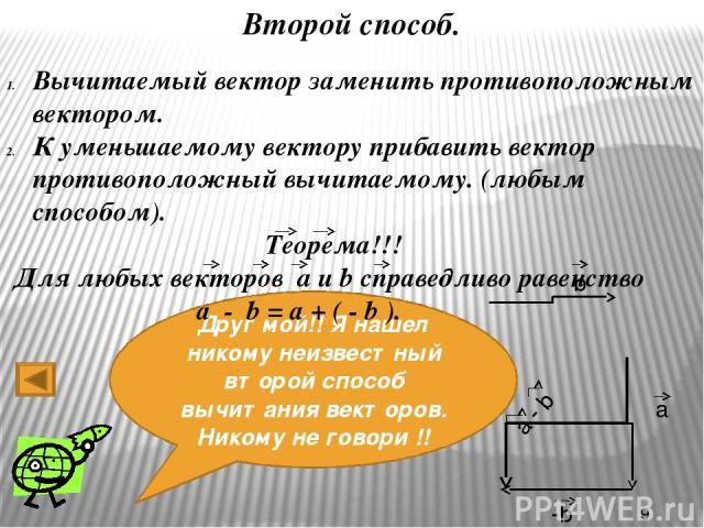 Давайте проверим, как вы поняли? 1. Укажите вектор суммы векторов a и b а b а) А В
