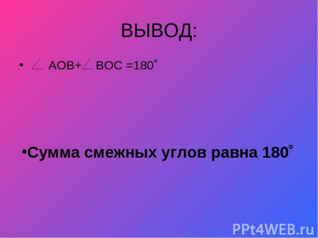 ВЫВОД: АОВ+ Сумма смежных углов равна 180˚ ВОС =180˚