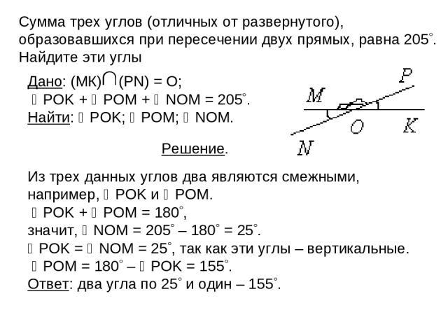 Сумма трех углов (отличных от развернутого), образовавшихся при пересечении двух прямых, равна 205 . Найдите эти углы Из трех данных углов два являются смежными, например, POK и POM. POK + POM = 180 , значит, NOM = 205 – 180 = 25 . POK = NOM = 25 , …