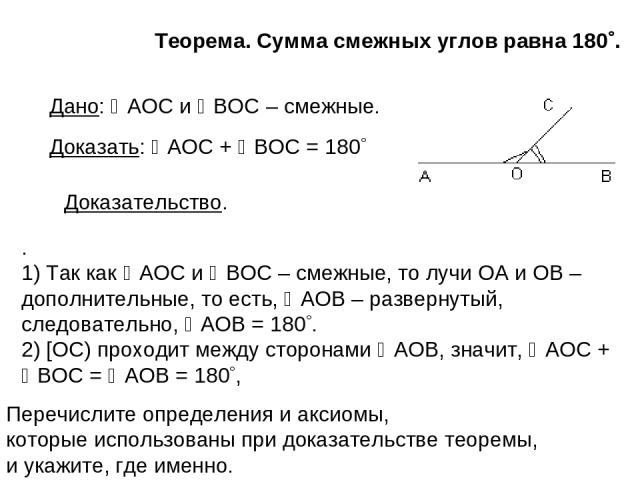 Теорема. Сумма смежных углов равна 180 . . 1) Так как AOC и BOC – смежные, то лучи ОА и ОВ – дополнительные, то есть, AOB – развернутый, следовательно, AOB = 180 . 2) [OC) проходит между сторонами AOB, значит, AOC + BOC = AOB = 180 , Дано: AOC и BOC…