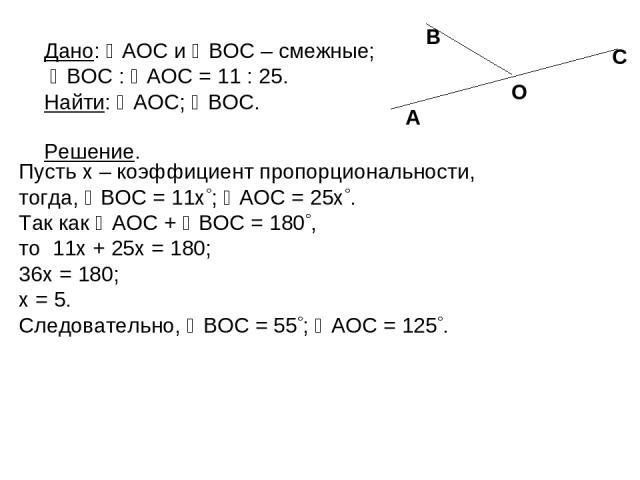 Пусть x – коэффициент пропорциональности, тогда, BOC = 11x ; AOC = 25x . Так как AOC + BOC = 180 , то 11x + 25x = 180; 36x = 180; x = 5. Следовательно, BOC = 55 ; AOC = 125 . Дано: AOC и BOC – смежные; BOC : AOC = 11 : 25. Найти: AOC; BOC. Решение. …