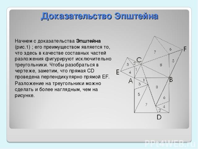 Доказательство Эпштейна Начнем с доказательства Эпштейна (рис.1) ; его преимуществом является то, что здесь в качестве составных частей разложения фигурируют исключительно треугольники. Чтобы разобраться в чертеже, заметим, что прямая CD проведена п…