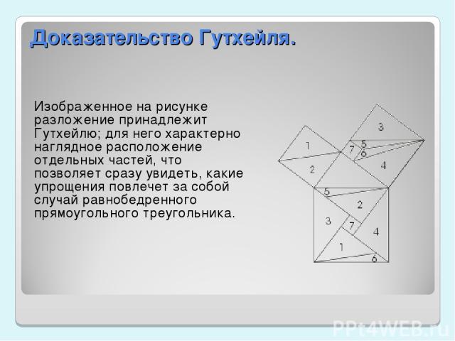 Доказательство Гутхейля. Изображенное на рисунке разложение принадлежит Гутхейлю; для него характерно наглядное расположение отдельных частей, что позволяет сразу увидеть, какие упрощения повлечет за собой случай равнобедренного прямоугольного треуг…