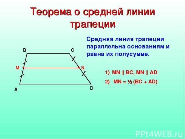 Теорема о средней линии трапеции A D B C MN || BC, MN || AD MN = ½ (BC + AD) Средняя линия трапеции параллельна основаниям и равна их полусумме.