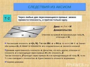 СЛЕДСТВИЯ ИЗ АКСИОМ Т-2 Через любые две пересекающиеся прямые можно провести пло