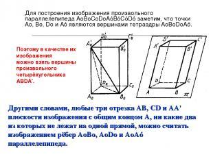 Для построения изображения произвольного параллелепипеда AоBоCоDоAóBóСóDó замети
