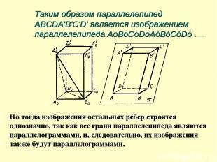 Таким образом параллелепипед ABCDA'B'C'D' является изображением параллелепипеда