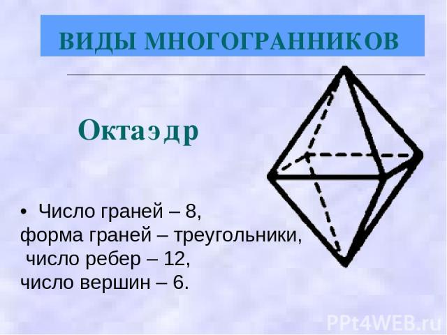 • Число граней – 8, форма граней – треугольники, число ребер – 12, число вершин – 6. Октаэдр ВИДЫ МНОГОГРАННИКОВ