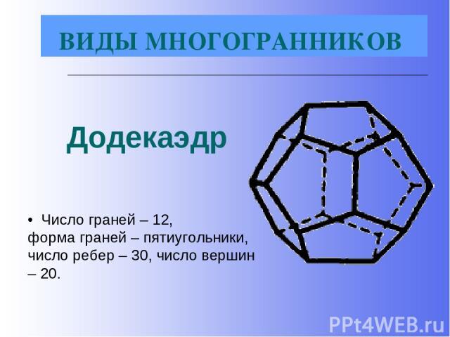 Додекаэдр • Число граней – 12, форма граней – пятиугольники, число ребер – 30, число вершин – 20. ВИДЫ МНОГОГРАННИКОВ