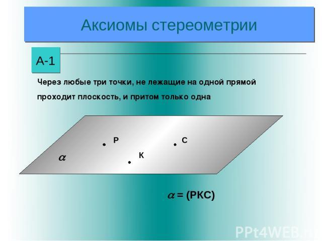 Аксиомы стереометрии А-1 = (РКС) Через любые три точки, не лежащие на одной прямой проходит плоскость, и притом только одна