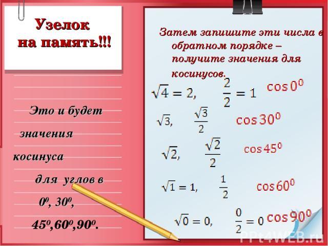 Узелок на память!!! Затем запишите эти числа в обратном порядке – получите значения для косинусов. Это и будет значения косинуса для углов в 00, 300, 450,600,900.