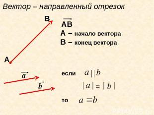 Вектор – направленный отрезок АВ А – начало вектора В – конец вектора А В а b ес