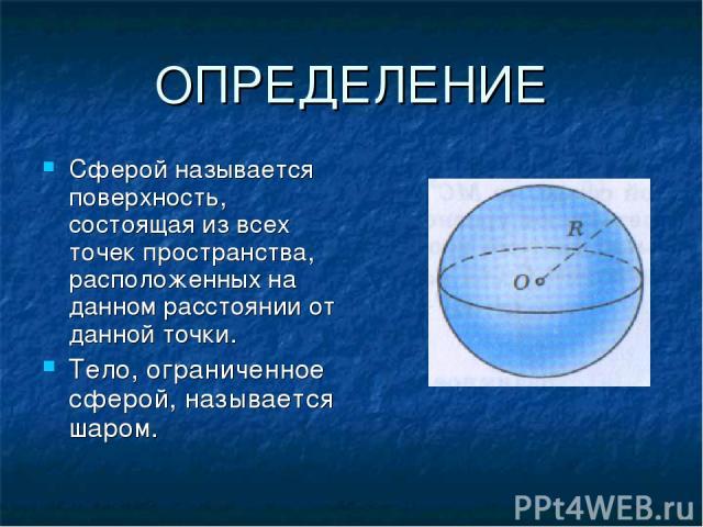 ОПРЕДЕЛЕНИЕ Сферой называется поверхность, состоящая из всех точек пространства, расположенных на данном расстоянии от данной точки. Тело, ограниченное сферой, называется шаром.