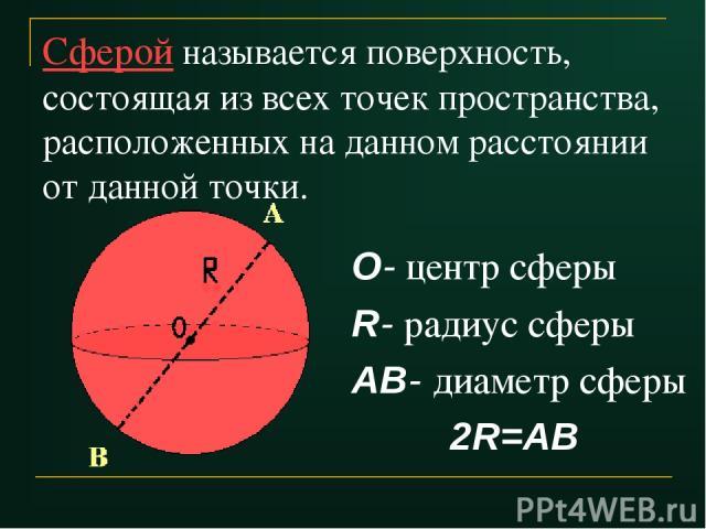 Сферой называется поверхность, состоящая из всех точек пространства, расположенных на данном расстоянии от данной точки. О- центр сферы R- радиус сферы АВ- диаметр сферы 2R=АВ
