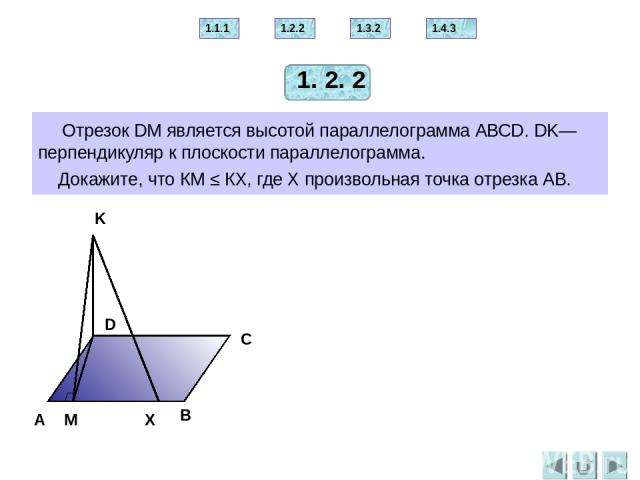 Отрезок МА перпендикулярен плоскости равнобедренного треугольника АВС. АВ = АС. Проведите через точку М перпендикуляр к прямой ВС. B С А М 2.1.1 2.2.1 2.3.2 2.4.2 2.5.3 2. 1. 1