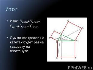 Итог Итак, SABFH+SACKG= SBJLD+SJCEL= SBCED Сумма квадратов на катетах будет равн