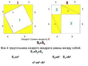b a a a a a a a a b b b b b b b c c c c I II 1 2 3 Квадрат I равен квадрату II S