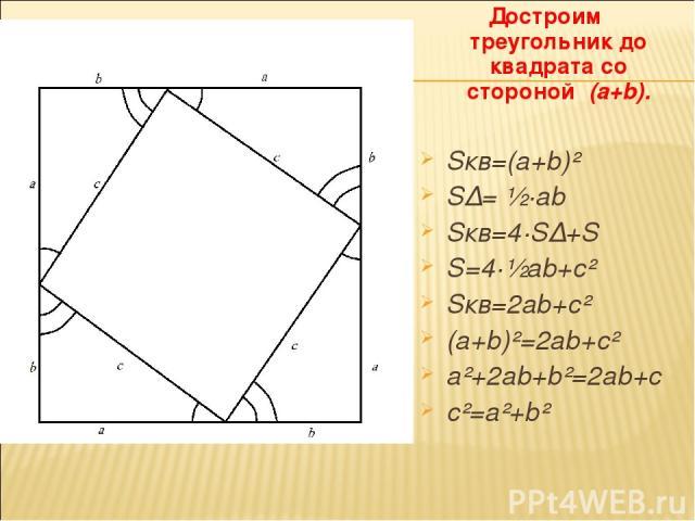 Достроим треугольник до квадрата со стороной (a+b). Sкв=(a+b)² S∆= ½·ab Sкв=4·S∆+S S=4·½ab+c² Sкв=2ab+c² (a+b)²=2ab+c² a²+2ab+b²=2ab+c c²=a²+b²