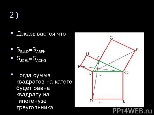 2) Доказывается что: SBJLD=SABFH SJCEL=SACKG Тогда сумма квадратов на катете будет равна квадрату на гипотенузе треугольника.