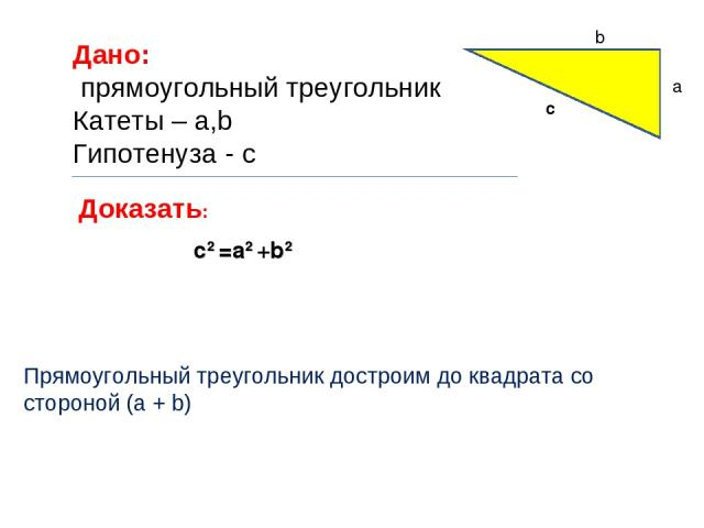 Дано: прямоугольный треугольник Катеты – a,b Гипотенуза - c Доказать: c2 =a2 +b2 a c b Прямоугольный треугольник достроим до квадрата со стороной (a + b)