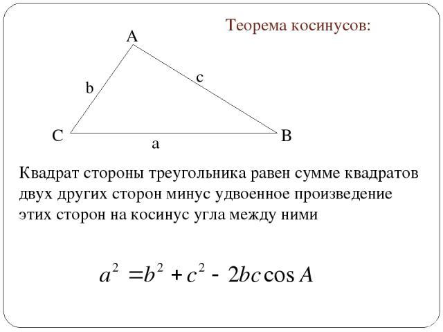 A B C Теорема косинусов: Квадрат стороны треугольника равен сумме квадратов двух других сторон минус удвоенное произведение этих сторон на косинус угла между ними а с b