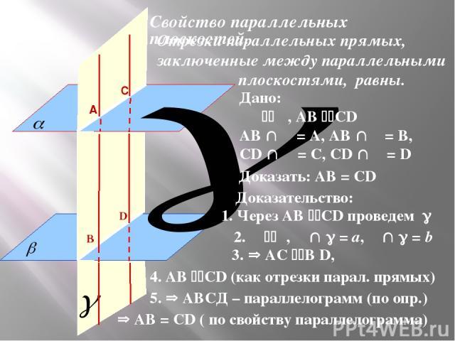 Отрезки параллельных прямых, заключенные между параллельными плоскостями, равны. Свойство параллельных плоскостей. Доказать: АВ = СD Дано: α β, АВ СD АВ α = А, АВ β = В, СD α = С, СD β = D Доказательство: 1. Через АВ СD проведем 2. α β, α = a, β = b…