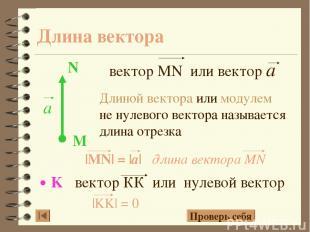 Длина вектора Длиной вектора или модулем не нулевого вектора называется длина от