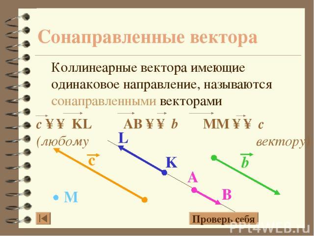 Сонаправленные вектора Коллинеарные вектора имеющие одинаковое направление, называются сонаправленными векторами Проверь себя