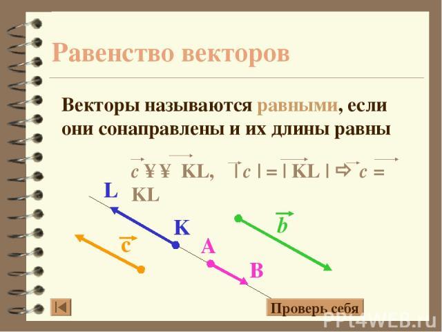 Равенство векторов Векторы называются равными, если они сонаправлены и их длины равны Проверь себя