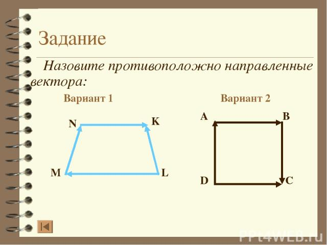 Задание Назовите противоположно направленные вектора: Вариант 1 Вариант 2 A B D C N K L M