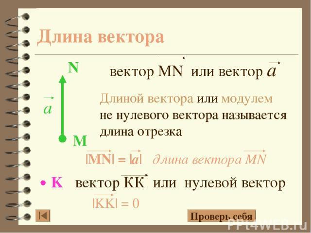 Длина вектора Длиной вектора или модулем не нулевого вектора называется длина отрезка Проверь себя