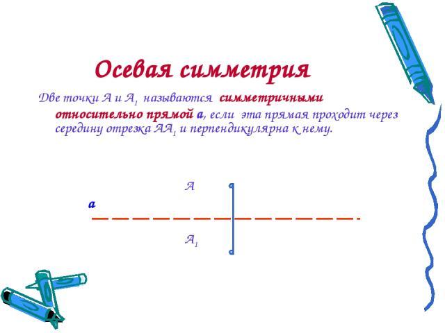 Осевая симметрия Две точки А и А1 называются симметричными относительно прямой a, если эта прямая проходит через середину отрезка АА1 и перпендикулярна к нему. А а А1