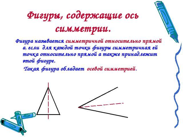Фигуры, содержащие ось симметрии. Фигура называется симметричной относительно прямой а, если для каждой точки фигуры симметричная ей точка относительно прямой а также принадлежит этой фигуре. Такая фигура обладает осевой симметрией.