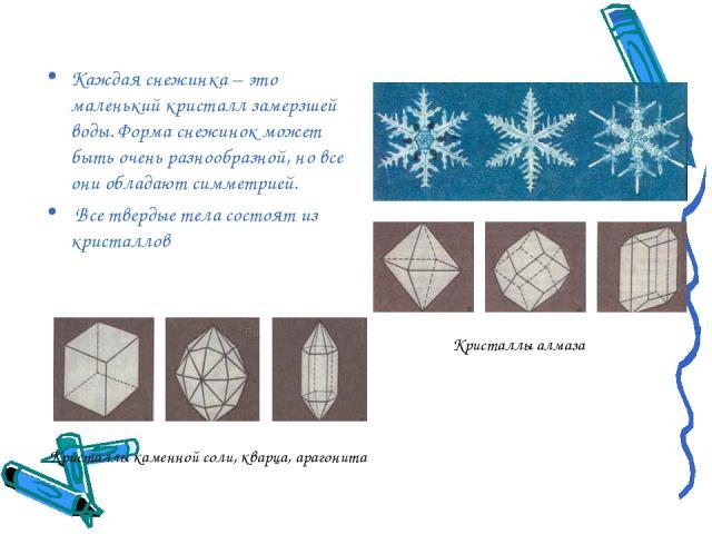 Каждая снежинка – это маленький кристалл замерзшей воды. Форма снежинок может быть очень разнообразной, но все они обладают симметрией. Все твердые тела состоят из кристаллов Кристаллы алмаза Кристаллы каменной соли, кварца, арагонита