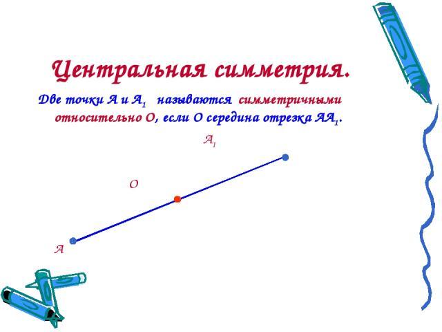 Центральная симметрия. Две точки А и А1 называются симметричными относительно О, если О середина отрезка АА1. А1 О А
