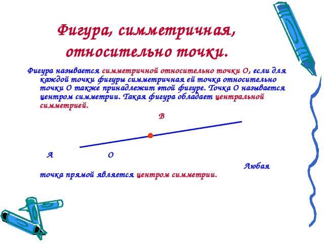 Фигура, симметричная, относительно точки. Фигура называется симметричной относительно точки О, если для каждой точки фигуры симметричная ей точка относительно точки О также принадлежит этой фигуре. Точка О называется центром симметрии. Такая фигура …