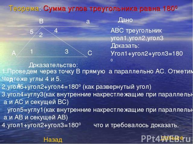 Теорема: Сумма углов треугольника равна 1800 Дано: А А А В АВС треугольник угол1,угол2,угол3 Доказать: Угол1+угол2+угол3=1800 1 2 3 4 5 Доказательство: 1.Проведем через точку В прямую а параллельно АС. Отметим на Чертеже углы 4 и 5. 2.угол5+угол2+уг…