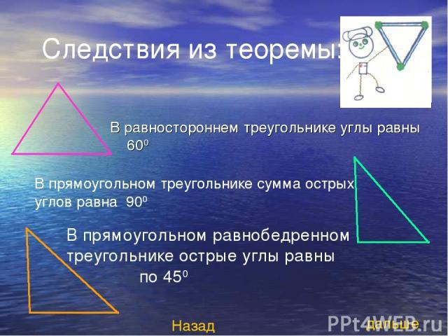 Следствия из теоремы: В равностороннем треугольнике углы равны 600 В прямоугольном треугольнике сумма острых углов равна 900 дальше Назад В прямоугольном равнобедренном треугольнике острые углы равны по 450