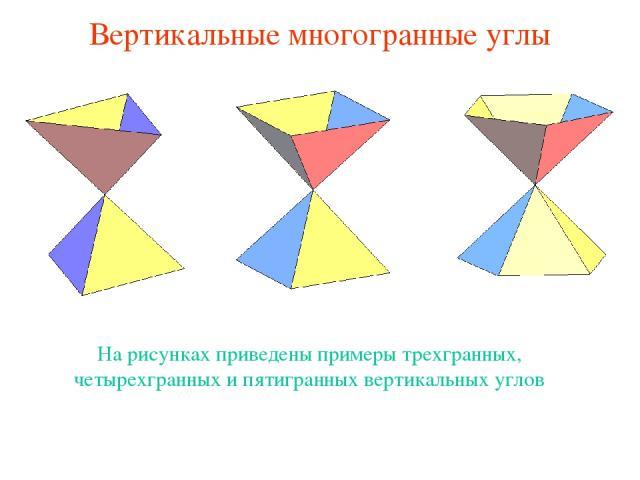 Вертикальные многогранные углы На рисунках приведены примеры трехгранных, четырехгранных и пятигранных вертикальных углов