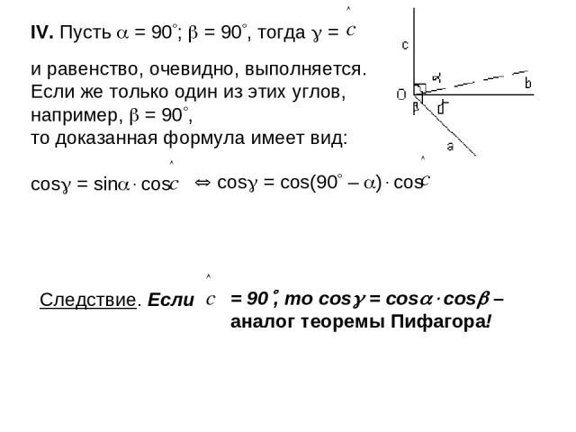 IV. Пусть = 90 ; = 90 , тогда = и равенство, очевидно, выполняется. Если же только один из этих углов, например, = 90 , то доказанная формула имеет вид: cos = sin cos cos = cos(90 – ) cos Следствие. Если = 90 , то cos = cos cos – аналог теоремы Пифагора!