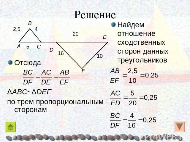 Решение Отсюда ΔABC~ΔDEF по трем пропорциональным сторонам Найдем отношение сходственных сторон данных треугольников