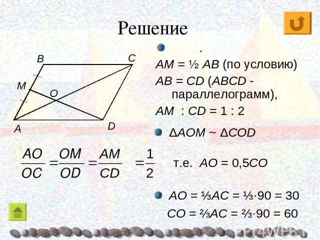 Решение C ΔAOM ~ ΔCОD . AM = ½ AB (по условию) AB = CD (ABCD - параллелограмм), AM : CD = 1 : 2 т.е. AO = 0,5CО AO = ⅓AC = ⅓·90 = 30 CO = ⅔AC = ⅔·90 = 60