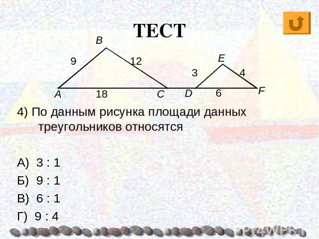 ТЕСТ 4) По данным рисунка площади данных треугольников относятся А) 3 : 1 Б) 9 : 1 В) 6 : 1 Г) 9 : 4