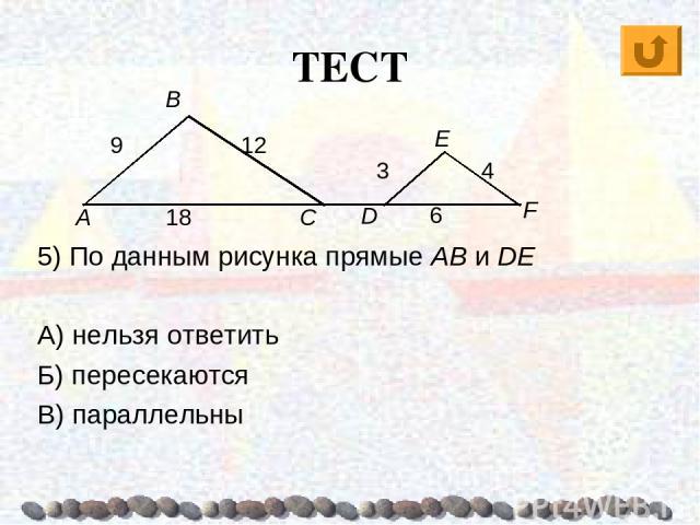 ТЕСТ 5) По данным рисунка прямые AB и DE А) нельзя ответить Б) пересекаются В) параллельны