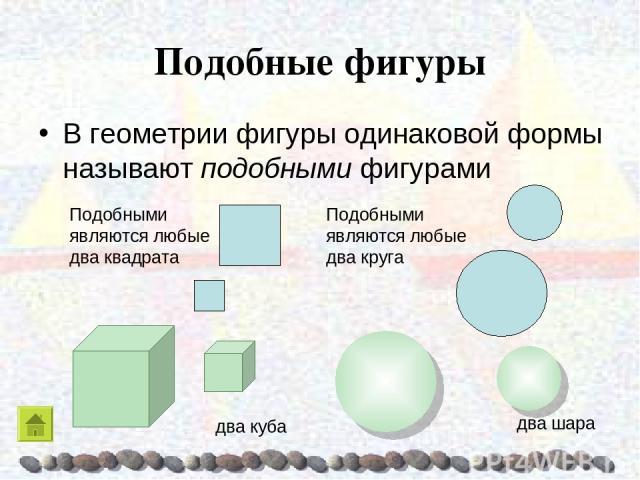 Подобные фигуры В геометрии фигуры одинаковой формы называют подобными фигурами Подобными являются любые два квадрата Подобными являются любые два круга два куба два шара