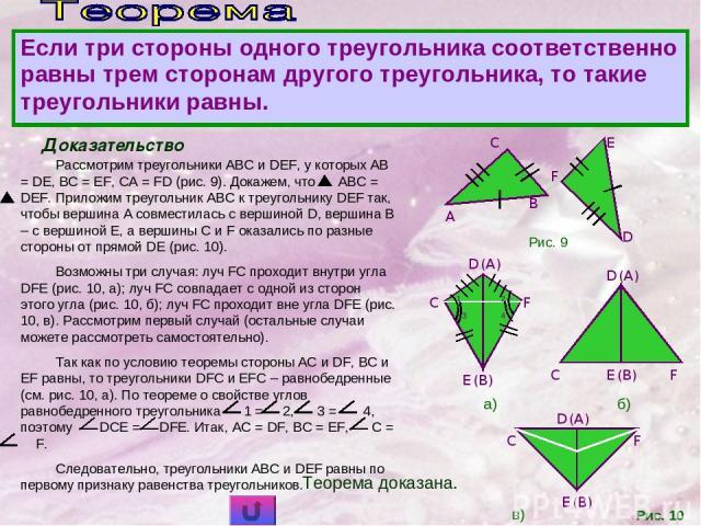 Доказательство Рассмотрим треугольники ABC и DEF, у которых AB = DE, BC = EF, CA = FD (рис. 9). Докажем, что ABC = DEF. Приложим треугольник ABC к треугольнику DEF так, чтобы вершина A совместилась с вершиной D, вершина B – с вершиной E, а вершины C…