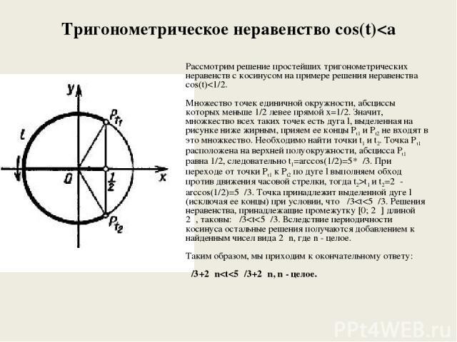 Тригонометрическое неравенство cos(t)