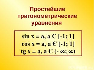sin x = a, a Є [-1; 1] cos x = a, a Є [-1; 1] tg x = a, a Є (- ∞; ∞) Простейшие