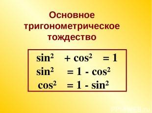 sin²α + cos²α = 1 sin²α = 1 - cos²α cos²α = 1 - sin²α Основное тригонометрическо